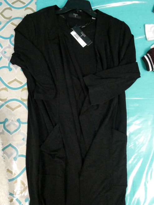 8pc TAHARI Lightweight Cloth Long Jackets BLACK #21086G (B-9-6)
