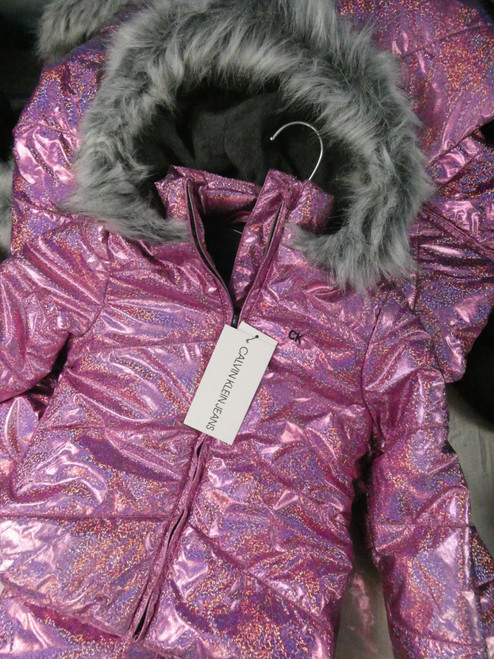 9pc Girls *ONLY CK* Pink Hologram Coats #22031J (L-1-2)