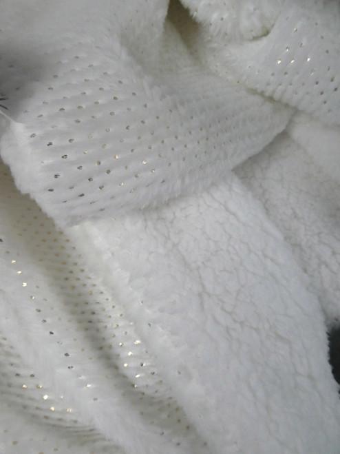 1pc Big Store Plush Throw Blanket White / Gold #20708H (G-1-2)