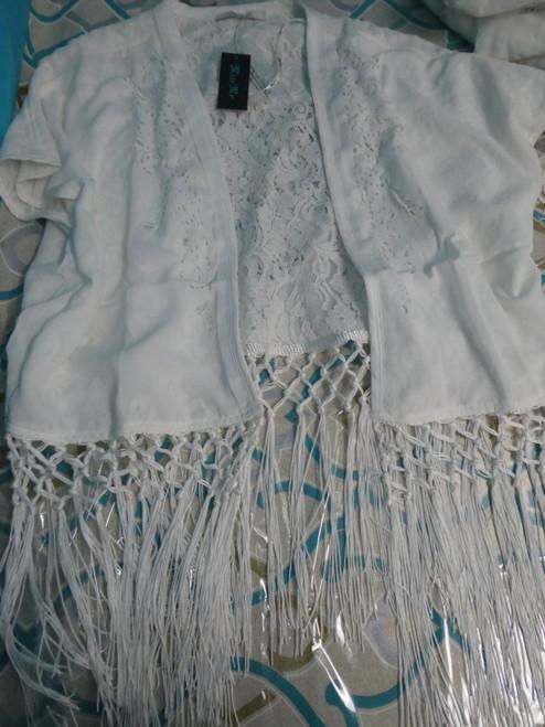 19pc *ONLY MISS ME* White FRINGE Cardigans + Button Up #22217v (L-1-4)