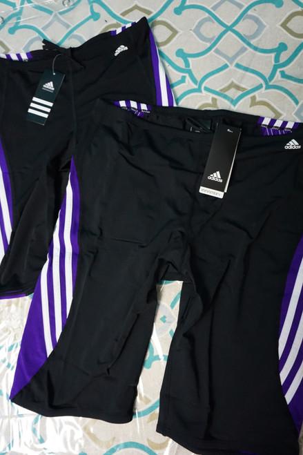33pc Boys ADIDAS 3-Stripe Jammer Swim Trunks BLACK PURPLE #22541M (X-6-3)