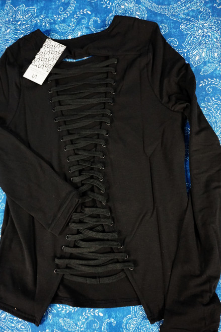 13pc URBAN SAVAGE Lace-Up Active Tops BLACK #22706w (o-1-5)