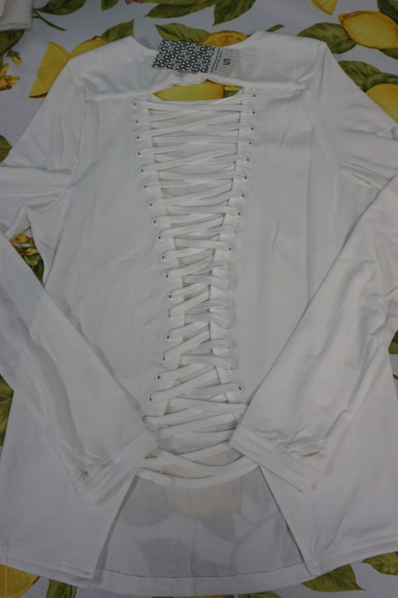 15pc URBAN SAVAGE Lace-Up Active Tops WHITE #22709w (b-8-3)