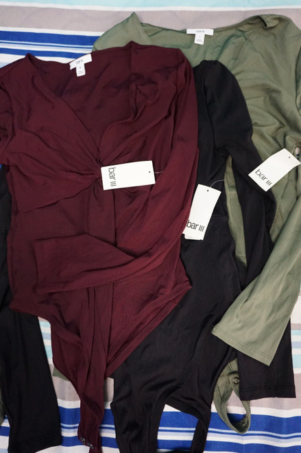 10pc *ONLY BAR III* Womens Bodysuits ~ 3 COLORS #22790z (N-4-3)