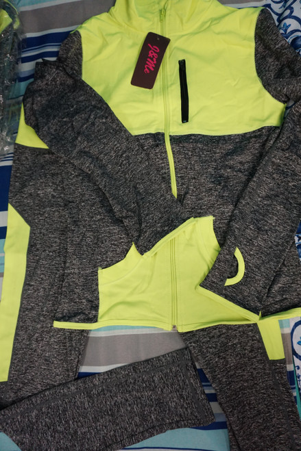 45pc Neon / Gray ACTIVE Zip Jackets &  Leggings MIX MATCH SETS #22859d (V-5-4)