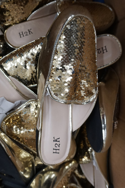 15prs Womens GOLD Sequin Mule Slides H2K #22952G (o-1-5)