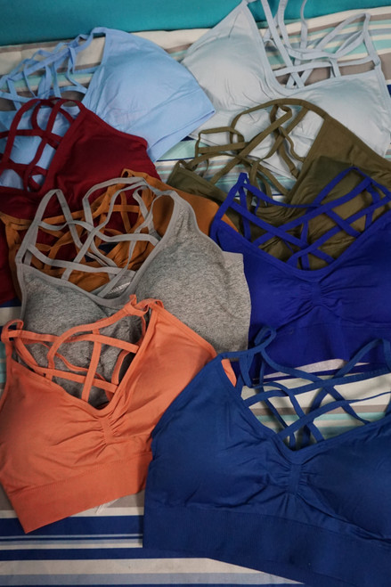 48pc PLUS SIZE Removable Pad SPORTS BRAS #22977H (W-5/6-5/6)