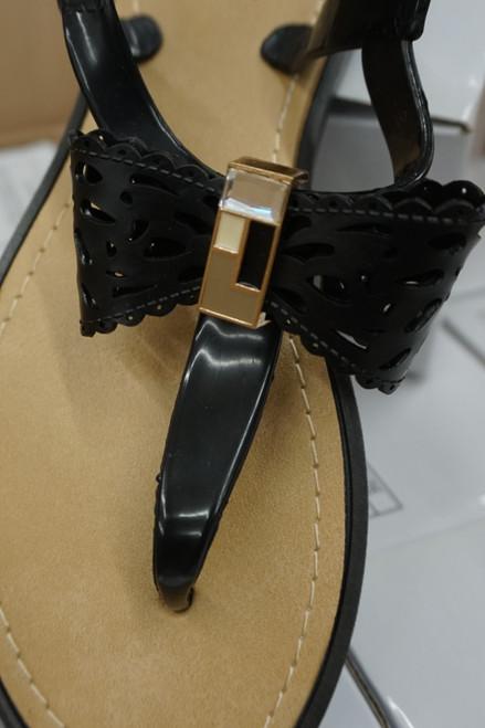 15prs Womens GEMSTONE Ankle Strap Sandals BLACK #22957G (u-2-3)