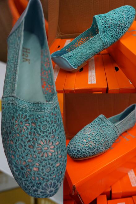 18prs Womens Crochet Style Slip-Ons BLUE #22959G (j-2-6)