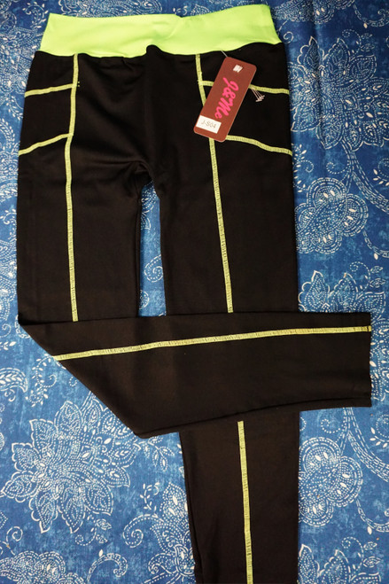 20pc Fluorescent / Black Womens ACTIVE Leggings #23088P (U-4-2)