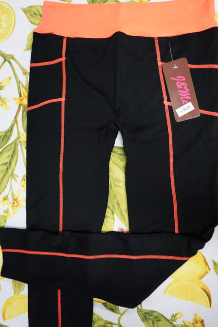 33pc Neon Coral / Black Womens ACTIVE Leggings #23090P (W-5-4)