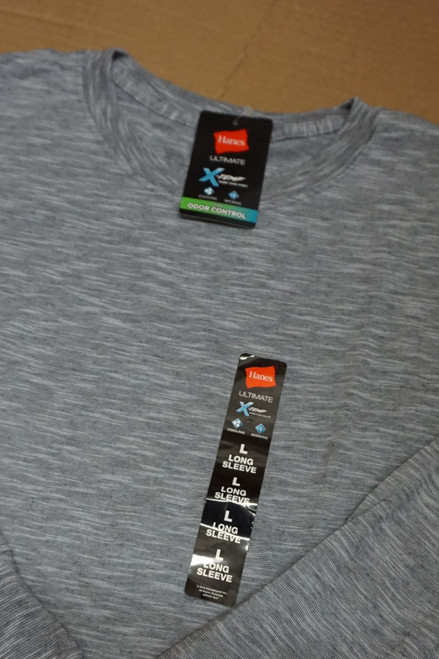 40pc Mens HANES X-Temp Long Sleeve Tees GRAY M & L #23158v ()