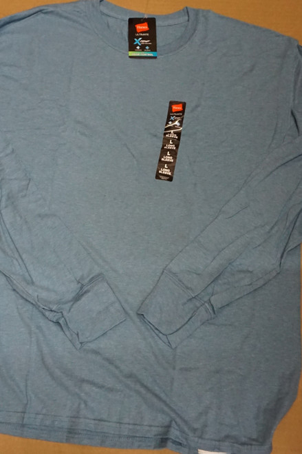 80pc Mens HANES X-Temp Long Sleeve Tees BLUE Medium #23163v ()