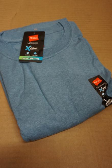 25pc Mens HANES X-Temp Long Sleeve Tees BLUE Medium #23164v ()