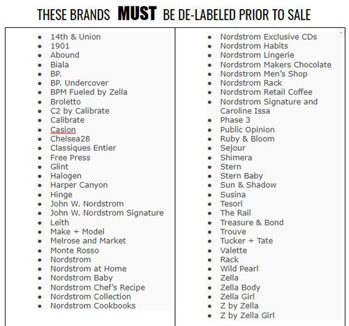These brands MUST be de-labeled.  Failure to De-Label these specific brands will result in the termination of your ability to purchase through our company in addition to possible legal repercussions.