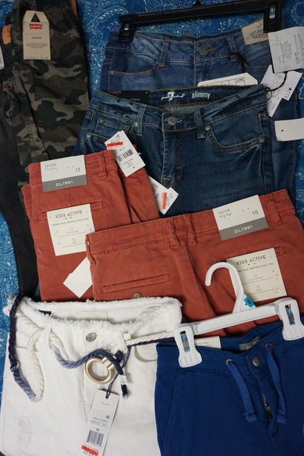 15pc Kids Shorts & Pants DL1961 Levis 7ForAllMankind CK #23969v (X-1-2)