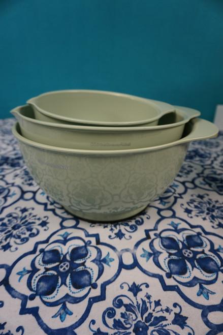 2 SETS = 6pc KitchenAid Mixing Bowl w/ Pour Spout Set PISTACHIO #24197J (Q-4-4)