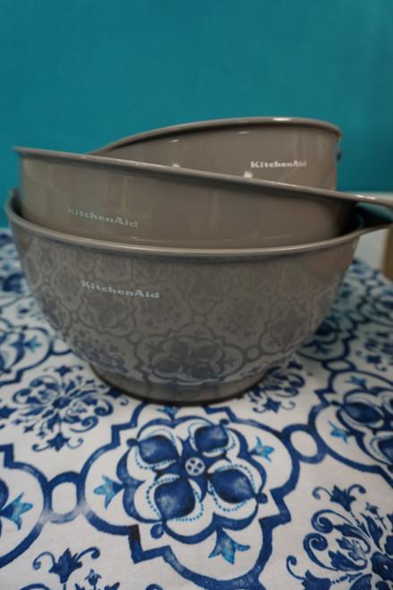 2 Sets = 6pc KitchenAid Mixing Bowl w/ Pour Spout Set GRAY #24198J (B-8-4)