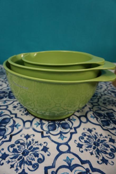 2 SETS = 6pc KitchenAid Mixing Bowl w/ Pour Spout Set BRIGHT GREEN #24200J (O-4-5)