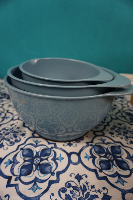 2 SETS = 6pc KitchenAid Mixing Bowl w/ Pour Spout Set POWDER BLUE #24201J (B-11-5)