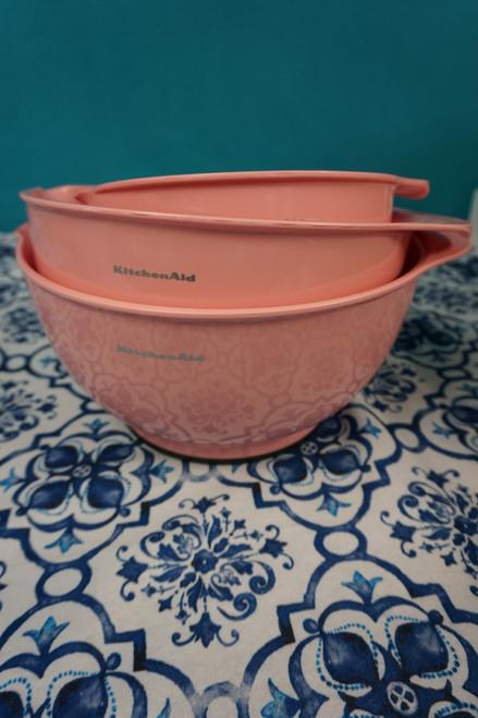2 SETS = 6pc KitchenAid Mixing Bowl w/ Pour Spout Set BABY PINK #24102J (K-5-4)