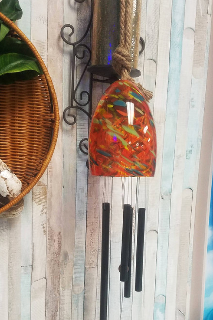 Barbra King Garden Bell Artisan Glass Windchime ****CORAL COLOR*** #24212J (DE-end)