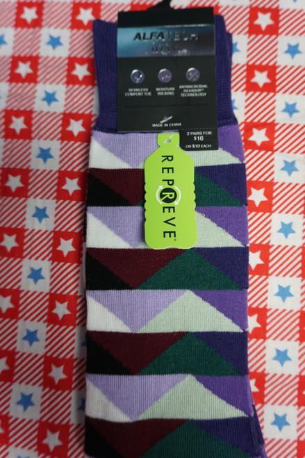 16prs AlfaTech Repreve Alfani Socks Triangle Stripe Multi #24423A (N-2-3 )