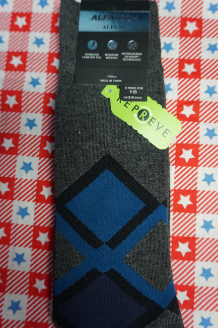 17prs AlfaTech Alfani Repreve Socks GRAY / BLUE Pattern #24426A (K-1-4 )