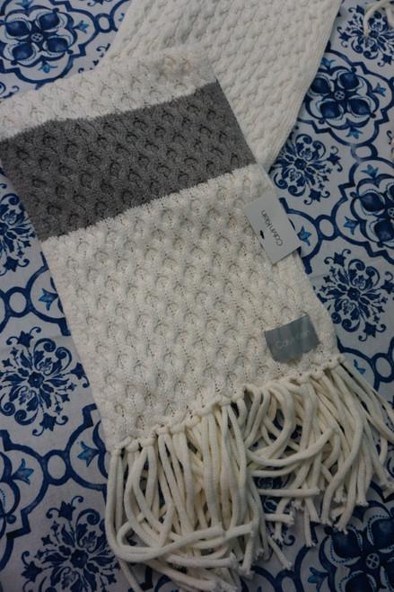 14pc Calvin Klein Ivory / Gray Scarves #24549J (Q-2-3)