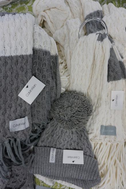 18pc Womens Calvin Klein CREAM / GRAY Accessories #24731w (Z-10-5)
