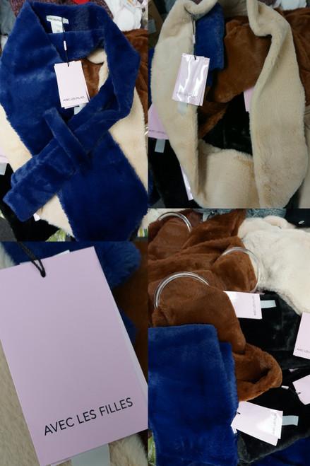 23pc AVEC LES FILLES Solid Color Faux Fur Scarves #24782Y (W-10-3)