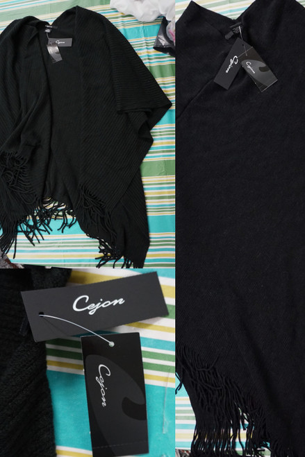 22pc Womens Cejon Black Wrap Cardigans & Poncho Sweaters #24797A (L-4-3)