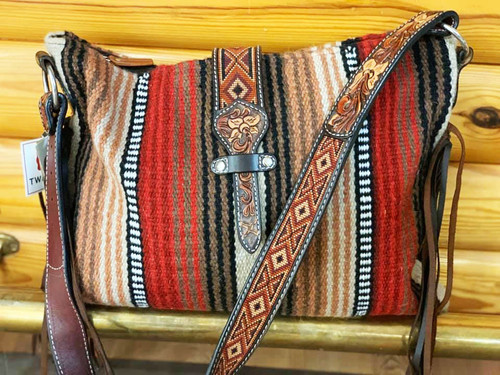 Twisted X Saddle Blanket Handbag with Beaded and Tooled Strap