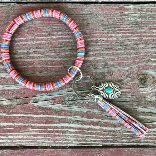Serape Key Ring with Silver Turquoise Concho