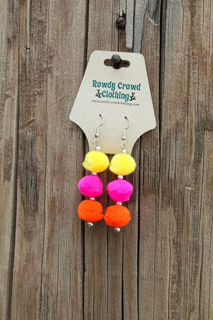 WHAM! PomPom Earrings, Yellow Pink Orange