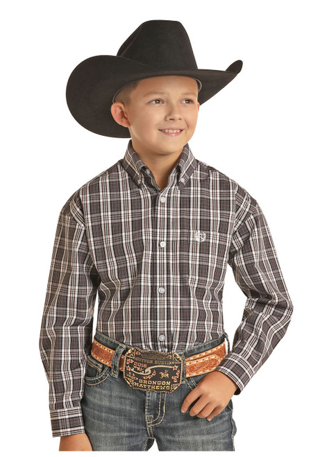 Panhandle Boys Western Longsleeve Button Down, Black/White