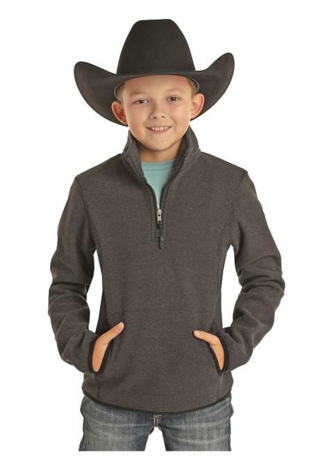 Powder River Outfitters Boys Fleece 1/4 Zip Pullover, Charcoal