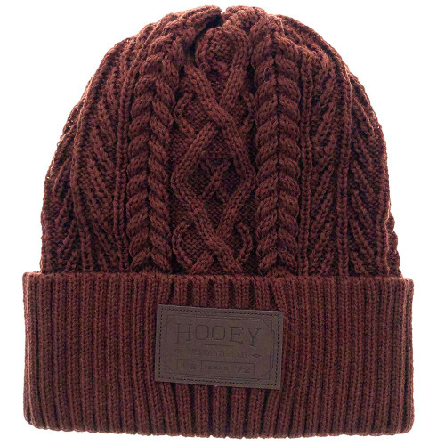 Hooey Ladies Maroon Beanie with Leather Patch