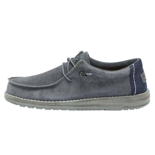 Hey Dude Wally Suede Gray with Navy Corduroy