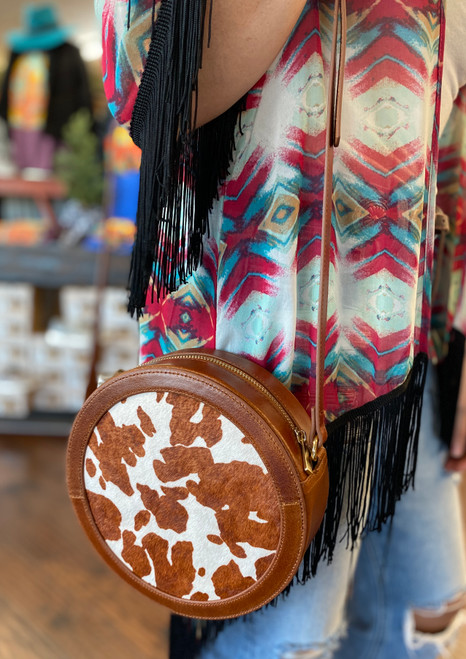 Cowhide and Leather Round Purse