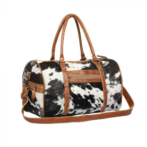 Myra Bag Onyx Traveller Overnight Bag with Leather and Hair On