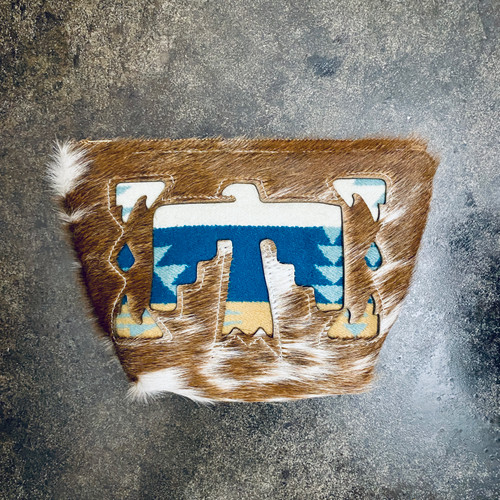 Cowhide and Pendleton Make Up Bag