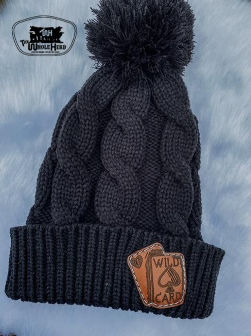 Charcoal Cable Knit Pom Beanie with Leather Patch