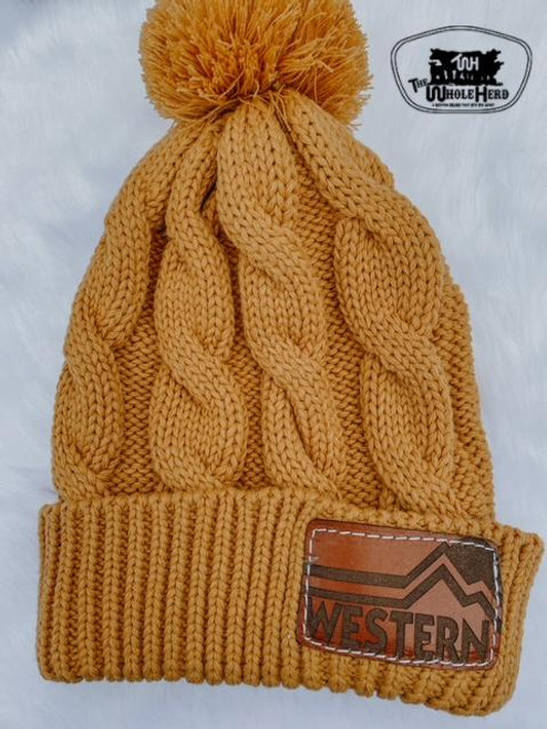 Mustard Cable Knit Pom Beanie with Western Leather Patch