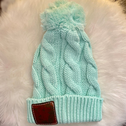 Mint Cable Knit Pom Beanie with Bull Head Leather Patch