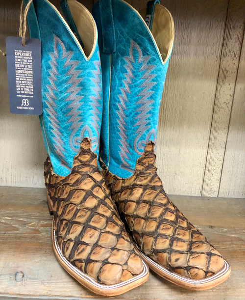 Anderson Bean Cigar Matte Big Bass Boot with Turquoise Top