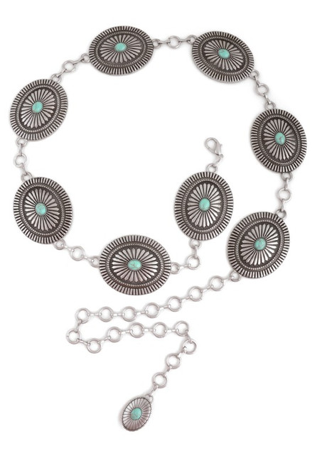 Women's Oval Turquoise Concho Chain Belt