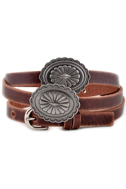 Skinny Brown Distressed Leather Concho Belt