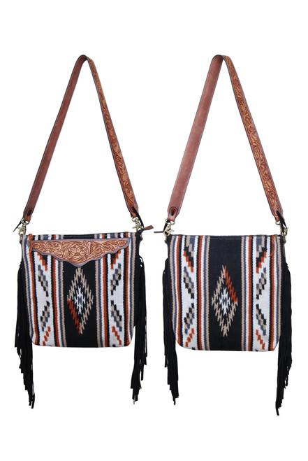 Brown and Black Saddle Blanket Crossbody Purse with Black Fringe and Leather Belt Strap