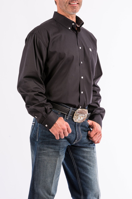 Cinch Men's Long Sleeve Black Solid Western Shirt